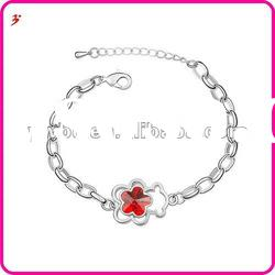 popular alloy silver flower shape with red crystal bracelet jewelry accessory(B100897)