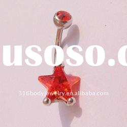 red crystal jewelry-HY02095-navel rings-stainless steel jewelry