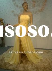 ruffled yellow long tailing real evening dress