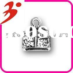 wholesale alloy plating antisilver 3-D gift box jewelry charm (185332)
