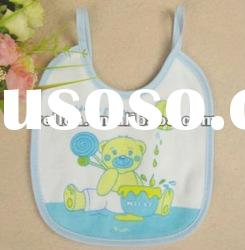 100% cotton terry with colorful printed bear baby bib