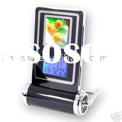 "1.5"" LCD Digital Photo Frame Alarm Clock-Black"
