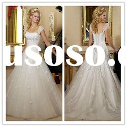 2011 fashionable sheer straps ball gown Floor-Length satin appliqued lace Wedding Dresses 2011