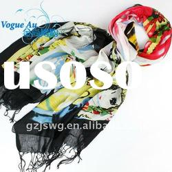 2011 newest arrival hot sale cotton scarf /real silk scarf/ double face Shawl Pashmina