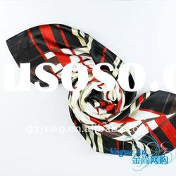 2011 pomotion and fashion satin natural silk Scarf /square printed scarf/ brand name Shawl Pashmina
