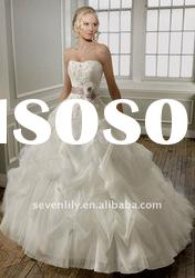 2012 Best selling ball gown Lace on tulle rhinestone wedding dresses