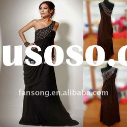 2012 Newest one-shoulder beaded sheath black real evening dress