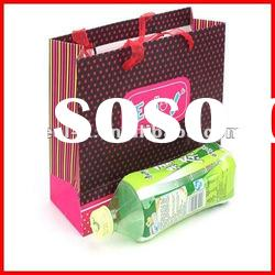 2012 new style paper shopping bag with ribbon handle