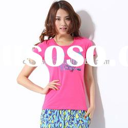 2012 summer hot sale ! high quality red short sleeve women's t-shirt with cool printed