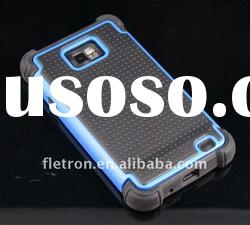 3 layers Blue+Black Cambo Case Silicone Case For Samsung i9100 Galaxy S2