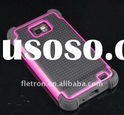 3 layers Pink+Black Cambo Case Silicone Case For Samsung i9100 Galaxy S2