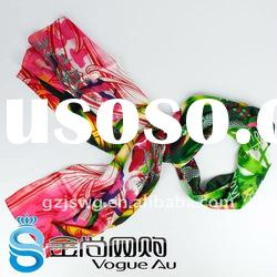 Beautiful and fashion women long real silk scarf with tiger pattern 2011