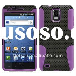 Black With Purple Silicone +Hole Hard 2 in 1 Case For SAMSUNG INFUSE 4G i997