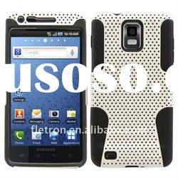 Black With White Silicone +Hole Hard 2 in 1 Case For Samsung Galaxy S I9000