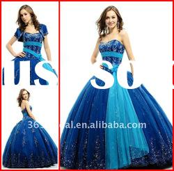 Blue Ball Gown Sweetheart Applique Beaded Tulle prom dress quinceanera dresses 2012