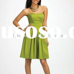 Cheap Strapless Knee Length Olive Green Satin Maid of Honor Dress