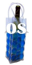Clear plastic wine bottle bags with handle