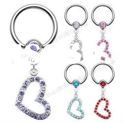 Fancy Dangle BCR Nose Ring Body Jewelry