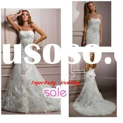 Fashion W-1132 strapless handmade flower lace ball gown bridal wedding dress