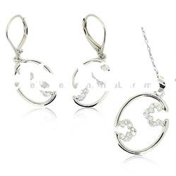 Fashion jewelry sets 2011,simple design with cz