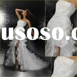 GR0008 Real Professional Organza Front Short Long Back Cascade Wedding Dress