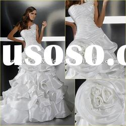 GR0013 New Style Beautiful Handmade Flowers Cascade Wedding Dress