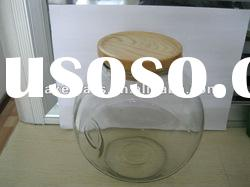 Glass jar for food storage with wooden lid
