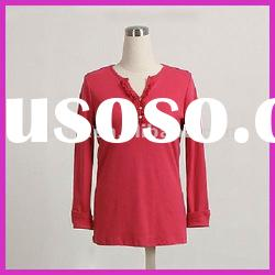 Ladies openfront pure color long sleeve T-shirt
