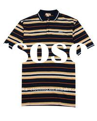 Men's horizontal striped men's polo shirts