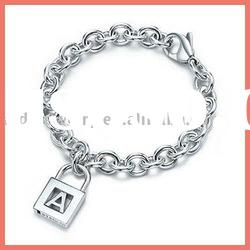 Men's silver charms bracelet & lock pendent jewelry