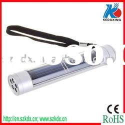Mini portable LED solar flashlight with rechargeable battery
