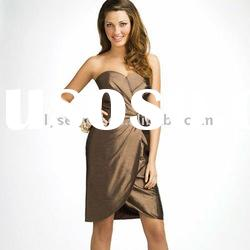 Newly Arrivals Sweetheart Neckline Brown Bridesmaid Knee Length Dresses
