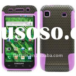 Purple With Black Silicone +Hole Hard 2 in 1 Case For Samsung Galaxy S I9000