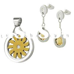Stylish Earring and Pendant in IPG two tone with cz Sun glory design stainless steel jewelry set