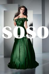 Unique A-line Strapless Ruching Green Long Dresses Prom