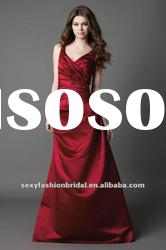 V neckline natural waist with sash ankle length red bridesmaid dresses