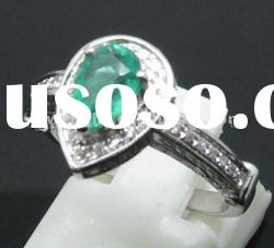 customized design Solid 14ct WHITE GOLD Natural Emerald & DIAMOND RING Settings