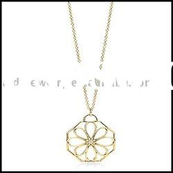 fashion jewelry Gold Flower Necklace with Crystal