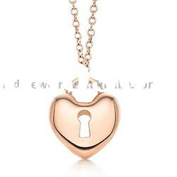 gold heart lock charm necklace pendant necklace fashion jewelry supplier
