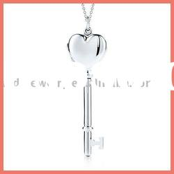 open heart key charms necklace & silver charms jewelry