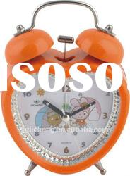 orange twin bell quartz alarm desk clock