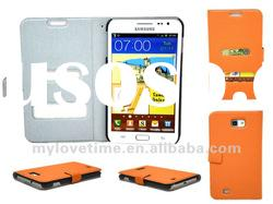 orange wallet/pouch leather case for Samsung i9220 galaxy s2 note following samsung i9100 galaxy s2