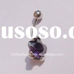 purple flower navel rings-HY02097-body jewelry-stainless steel piercing