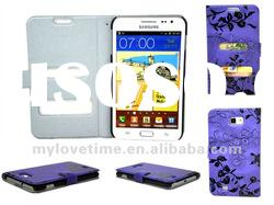 purple wallet/pouch leather case for Samsung i9220 galaxy s2 note following samsung i9100 galaxy s2