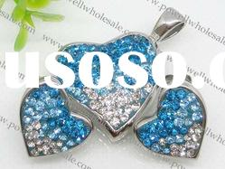 stainless two-tone heart jewelry set