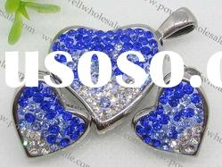 stainless two-tone heart water drill jewelry set