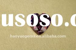 synthetic gemstone,amethyst CZ heart-shape cubic zirconia