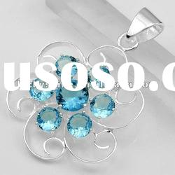 unique design jewelry sterling silver jewelry new blue Topaz pendants
