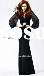 2011 fashion design V-neck long sleeve black evening dress