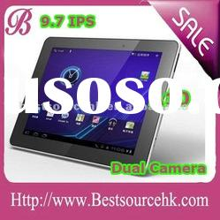 """2012 Hot Android 4.0 Allwinner A10 tablet pc ,9.7 inch """"IPS with Skype call, dual cameras"""
